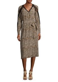 The Kooples Leopard Print Silk Midi Dress