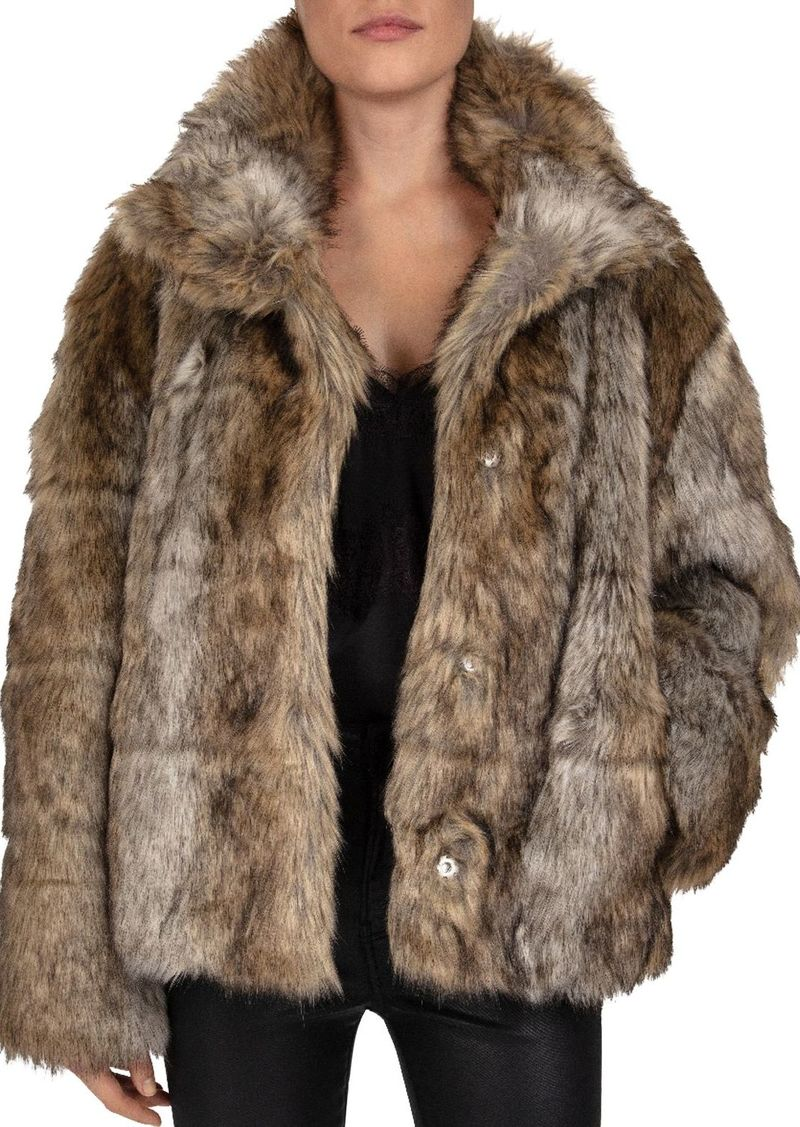 The Kooples Line Grooved Faux-Fur Coat