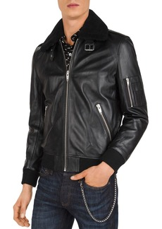 The Kooples Lissato Shearling-Collar Leather Jacket