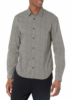 The Kooples Men's  and Beige Cotton Shirt with Thin Spread Collar