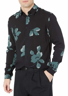 The Kooples Men's Floral Printed Button-Down Shirt with Officer Collar Black/Green