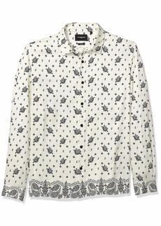 The Kooples Men's Men's Bandana Print Button Down Shirt Ecru-Black