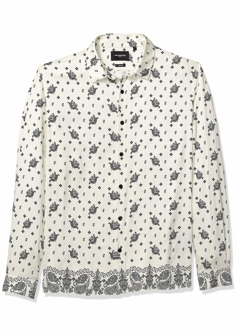 The Kooples Men's Men's Bandana Print Button Down Shirt Ecru-Black