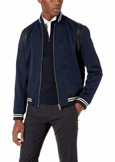 The Kooples Men's Men's Bomber Jacket with Leather Band at Armholes  Extra Large