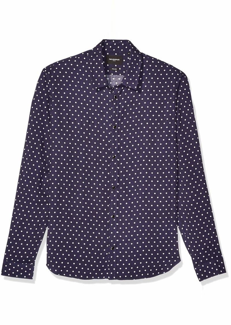 The Kooples Men's Men's Classic Button-Down Shirt Polka Dot Print Navy/Off-White