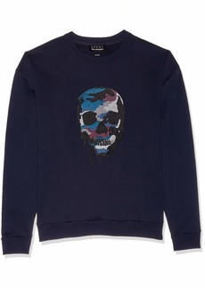 The Kooples Men's Men's Fleece Sweatshirt with Melting Skull Embroidery  XL