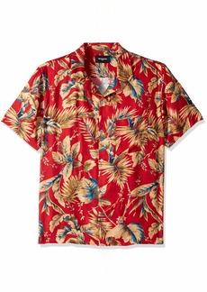 The Kooples Men's Hawaiian Print Short Sleeve Button-Down Shirt red/Ochre
