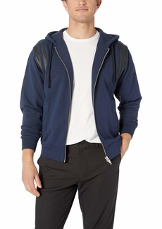 The Kooples Men's Men's Hooded Sweatshirt with Leather Band at Armholes
