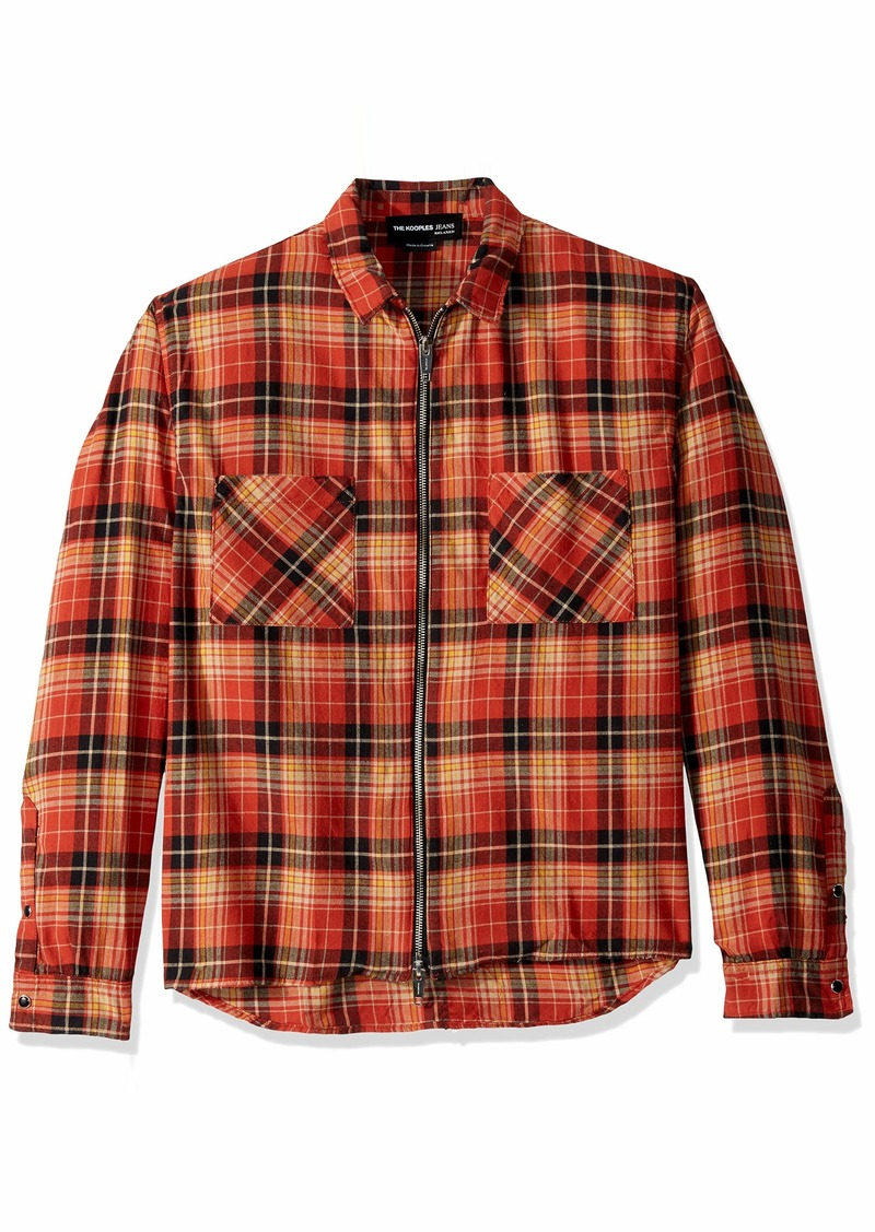 The Kooples Men's Men's Italian Fabric Zip-Up Check Shirt