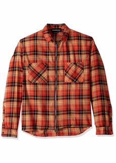 The Kooples Men's Men's Italian Fabric Zip-Up Check Shirt