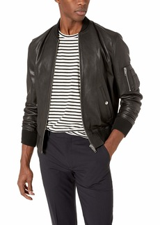 The Kooples Men's Men's Leather Bomber Jacket with Arm Pocket