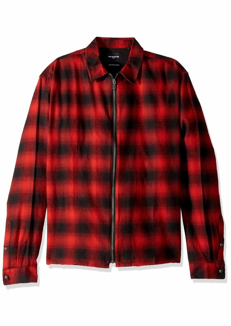 The Kooples Men's Men's Long Sleeve Check Shirt red/Black