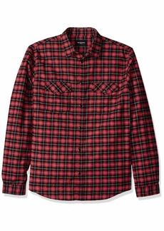 The Kooples Men's Men's Long Sleeve Slim Check Shirt red/Black