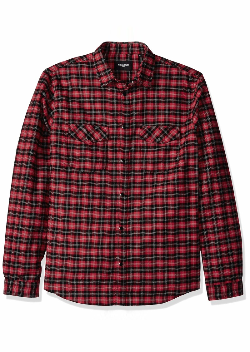 The Kooples Men's Men's Long Sleeve Slim Check Shirt red/Black