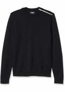 The Kooples Men's Men's Loose Fitted Knit Pullover with a Round Neck NAV03 M