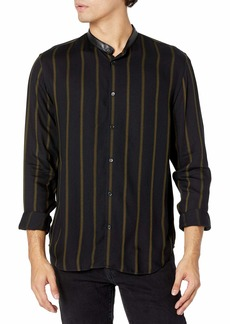 The Kooples Men's Printed Long-Sleeved Button-Down Shirt with a Banded Collar BLA85 L
