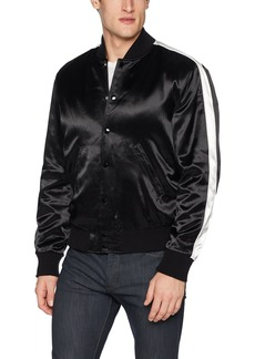 The Kooples Men's Men's Soft Bomber Jacket with Contrasting White Stripe on Sleeve  XL