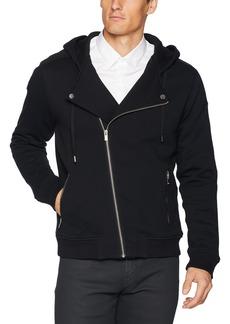 The Kooples Men's Men's Soft Fleece Biker Sweatshirt with Asymmetrical Zipper  XL