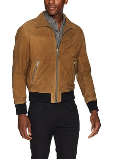 The Kooples Men's Men's Suede Leather Jacket with Colored Bands camo L