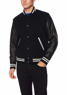 The Kooples Men's Men's Varsity Bomber Jacket with Leather Sleeves  L