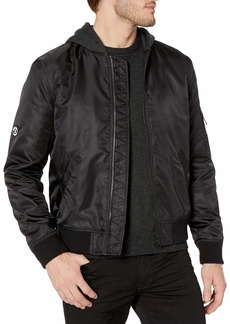 The Kooples Men's Men's Zip-up Bomber Jacket with Fleece Hood