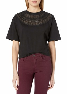 The Kooples Women's T-Shirt with Neckline Embroidery
