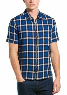 The Kooples Men's Zip Up Short Sleeve Check Shirt