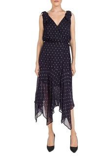 The Kooples Metallic-Dot Midi Wrap Dress