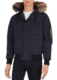 The Kooples Mix Hooded Bomber Jacket