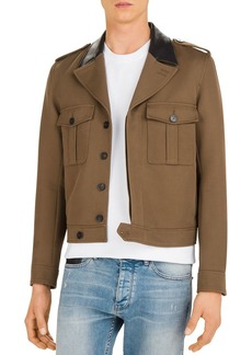 The Kooples Nerium Twill Jacket with Leather Collar
