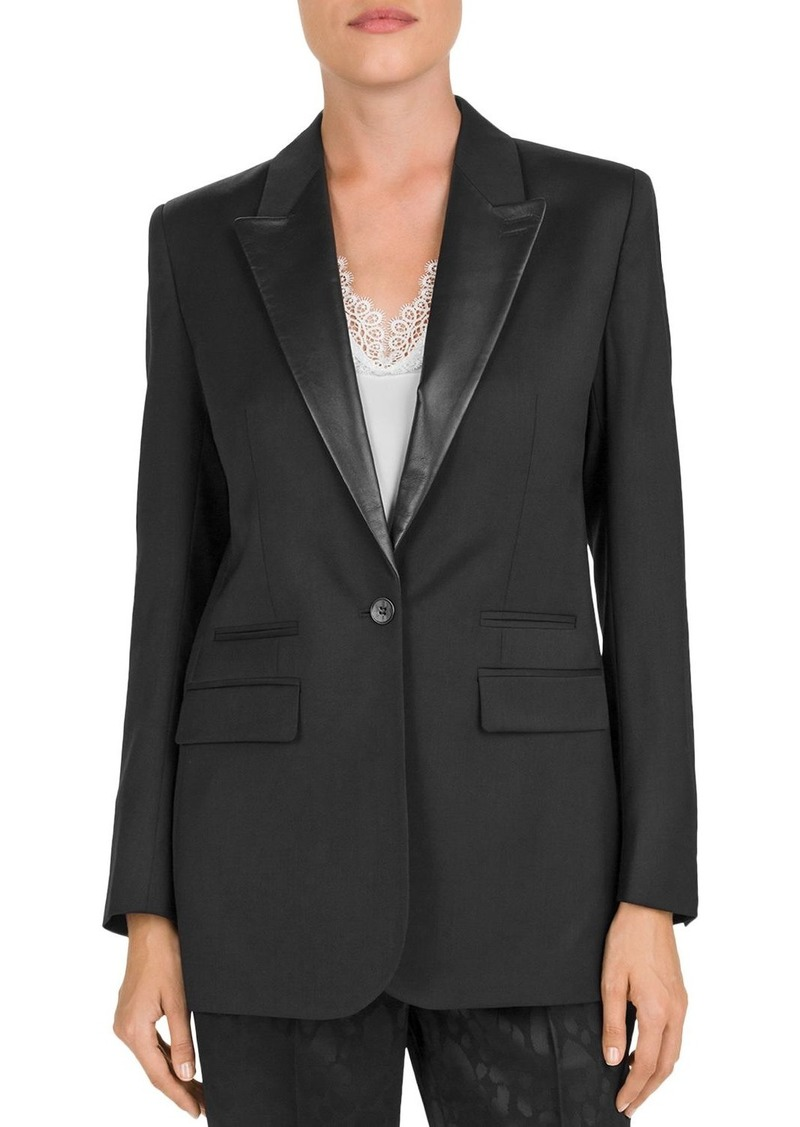 The Kooples One-Button Leather-Lapel Blazer