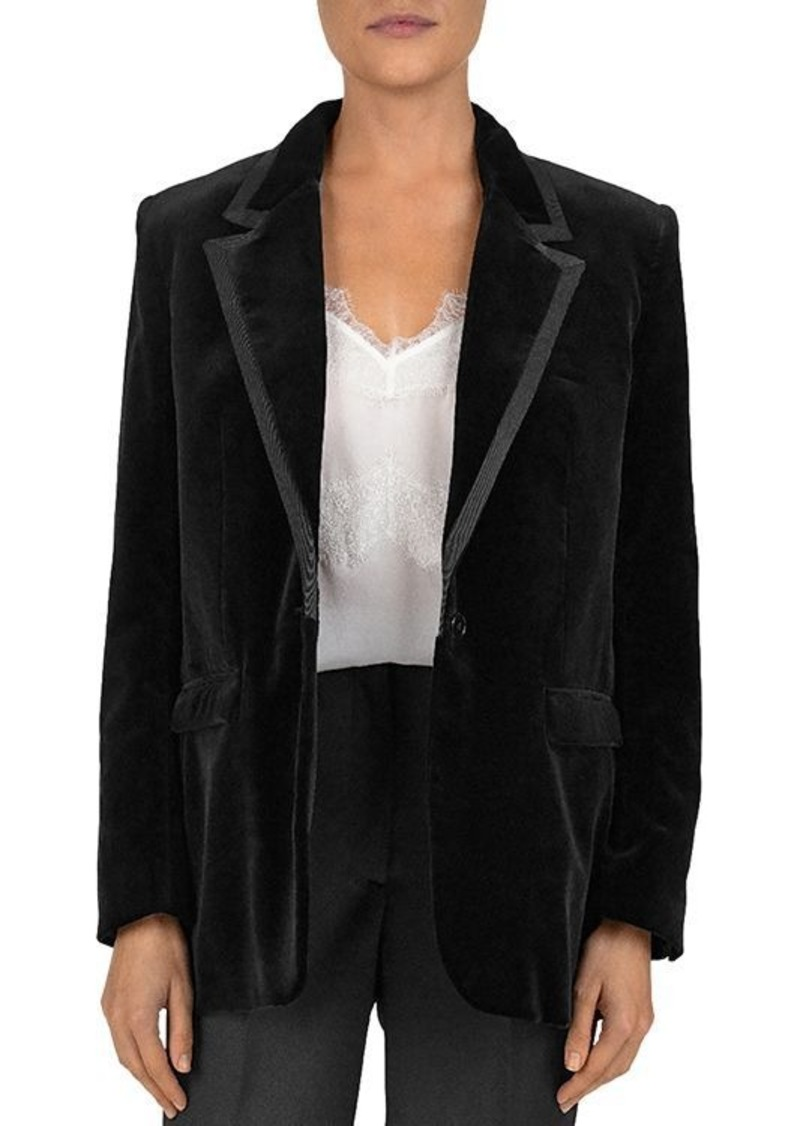 The Kooples One-Button Notch-Lapel Velvet Blazer