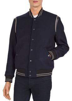 The Kooples Orione Leather-Trimmed Varsity Jacket