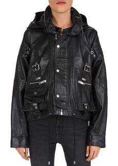 The Kooples Oversized Hardware-Detail Leather Jacket