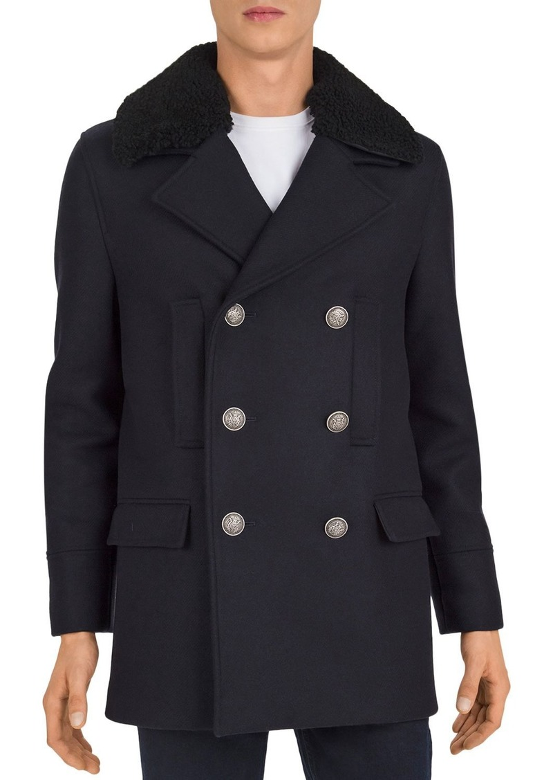 The Kooples Redding Shearling-Collar Pea Coat