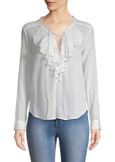 The Kooples Ruffle Front Lac-Up Blouse