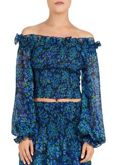 The Kooples Ruffled & Smocked Floral Silk Top
