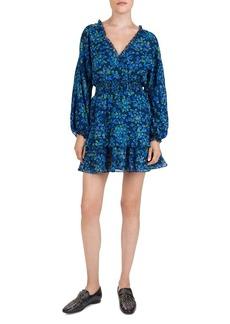 The Kooples Ruffled Floral-Print Silk Mini Dress