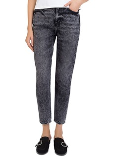 The Kooples Sequin-Hearts Cropped Jeans in Washed Black