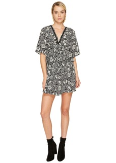 7dcbcc1d70 The Kooples Short Sleeve Dress with Print Design, Front Zip and Waist Frills