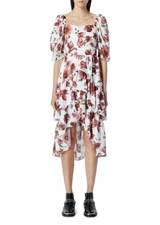 The Kooples Smocked Floral Print Midi Dress