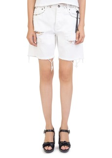 The Kooples Studded & Destroyed Denim Shorts in White