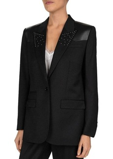 The Kooples Studded Leather-Detail Blazer