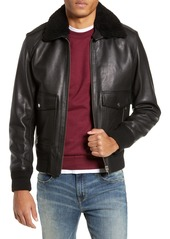 The Kooples Teddy Leather Jacket with Removable Genuine Lamb Shearling Trim