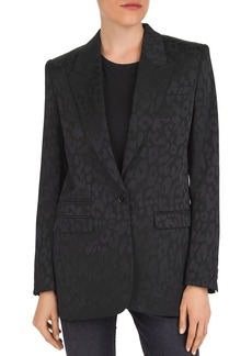 The Kooples Tonal Leopard-Print Peak-Lapel Blazer