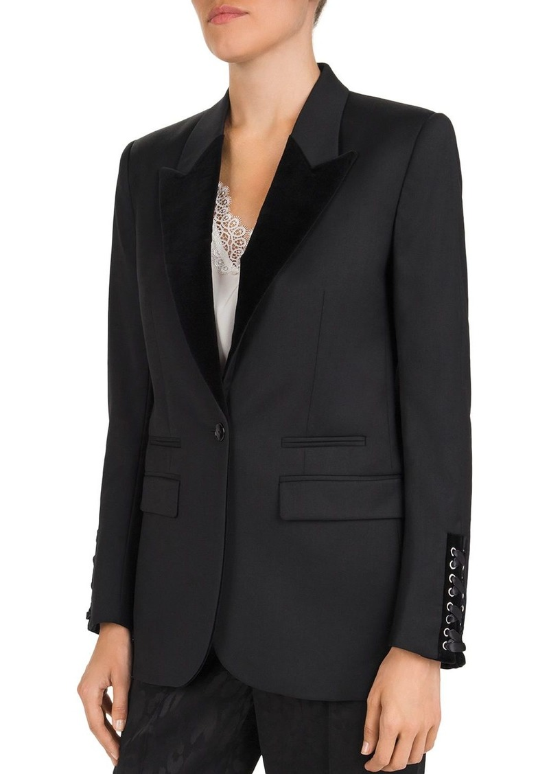 The Kooples Velvet-Lapel Lace-Up Cuff Blazer