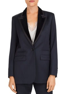 The Kooples Velvet-Lapel One-Button Blazer