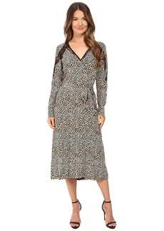 The Kooples Wild Leo On Silk Crepe De Chine & Lace Dress