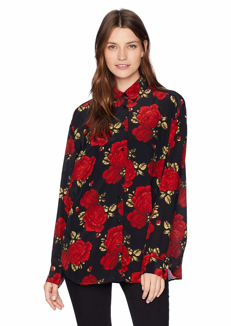 The Kooples Women's Button Down Shirt with Big red Roses Print Black