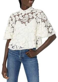 The Kooples Women's Loose Cropped Top with High Neck ECR01